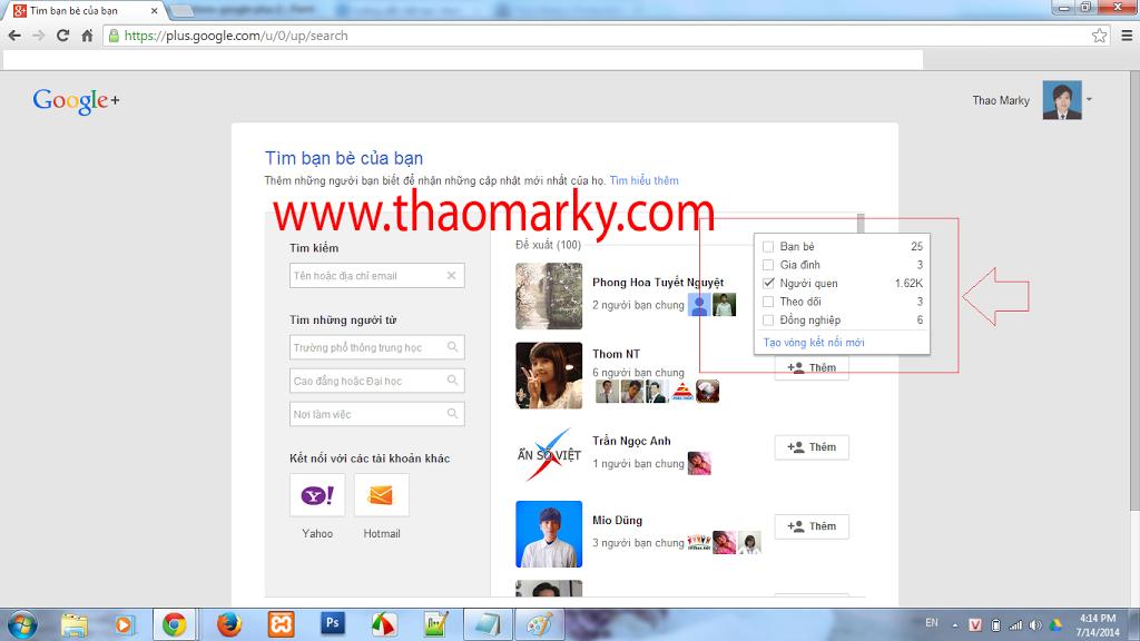 Hướng dẫn thêm bạn vào vòng kết nối nhanh trên Google Plus | Thao Marky's Productions