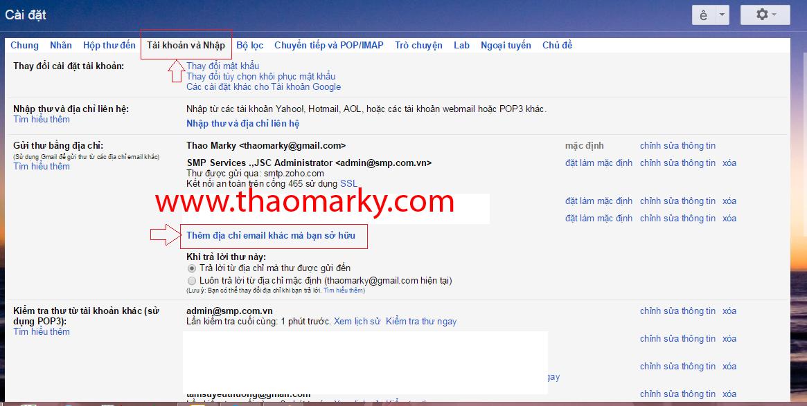 Hướng dẫn Gửi/nhận mail domain thông qua tài khoản Gmail 2