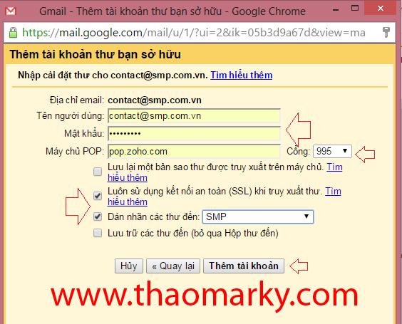 Hướng dẫn Gửi/nhận mail domain thông qua tài khoản Gmail 8