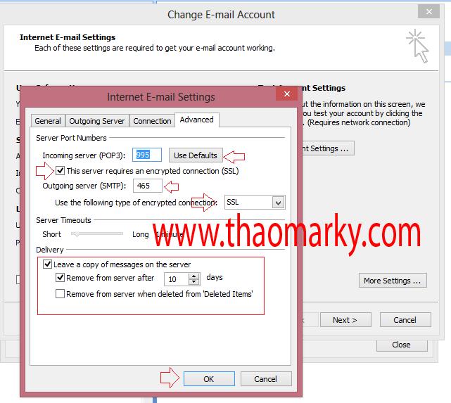 Cấu hình gửi/nhận Mail domain bằng Outlook 6