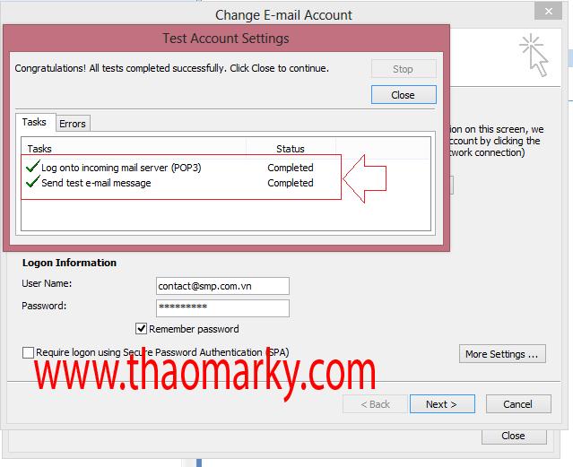 Cấu hình gửi/nhận Mail domain bằng Outlook 7